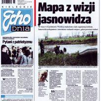 Mapa z wizji jasnowidza - W rzece w Kazimierzy Wielkiej znaleziono ciało zaginionej kobiety. Jasnowidz policjantom i strażakom wskazał miejsce, gdzie powinni szukać.