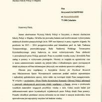 Absolwent Wyższej Szkoły Policji w Szczytnie - Post. mgr Krzysztof Janoszka, słuchacz Szkoły Policji w Słupsku