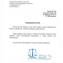 Akademia Leona Koźmińskiego - Podziękowania