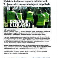Dziennik Elbląski - 23-letnia kobieta z synem odnalezieni. To jasnowidz wskazał miejsce jej pobytu