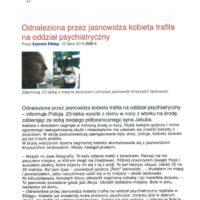 Express Elbląg - Odnaleziona przez jasnowidza kobieta trafiła na oddział psychiatryczny