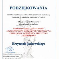 Podziękowania za wygłoszenie wykładu pt Wykorzystanie i skutecznośc niekonwencjonalnej metody śledczej na przykładzie jasnowidza Krzysztofa Jackowskiego