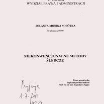 Praca Magisterska - Niekonwencjonalne Metody Śledcze Uniwersytet Łódzki w Łodzi, Wydział Prawa i Administracji