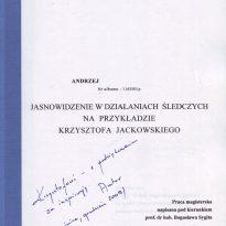 Praca magisterska - Jasnowidzenie w działaniach śledczych na przykładzie Krzysztofa Jackowskiego