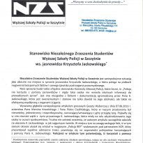 Stanowisko Niezależnego Zrzeszenia Studentów Wyższej Szkoły Policji w Szczytnie ws. Jasnowidza Krzysztofa Jackowskiego