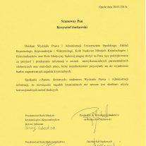Uniwersytet Opolski - Podziękowania za wykład