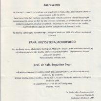Zaproszenie Collegium Medicum im. Ludwika Rydygiera w Bydgoszczy