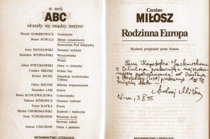 Dedykacja książkowa -Andrzej Miłosz