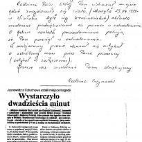 Jabłonica Polska - List od rodziny 26.05.1999 rok