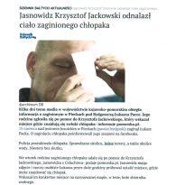 Jasnowidz Krzysztof Jackowski odnalazł ciało zaginionego chłopaka