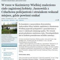 W rzece w Kazimierzy Wielkiej znaleziono ciało zaginionej kobiety. Jasnowidz z Człuchowa policjantom i strażakom wskazał miejsce, gdzie powinni szukać